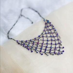 Violent Beaded Net Necklace